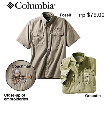 Fly fishing columbia shirt for fly rod reel angler ebay for Embroidered columbia fishing shirts